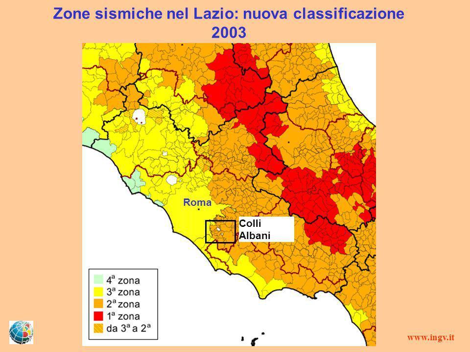 Zone sismiche nel Lazio: nuova classificazione 2003 Colli Albani Roma www.ingv.it