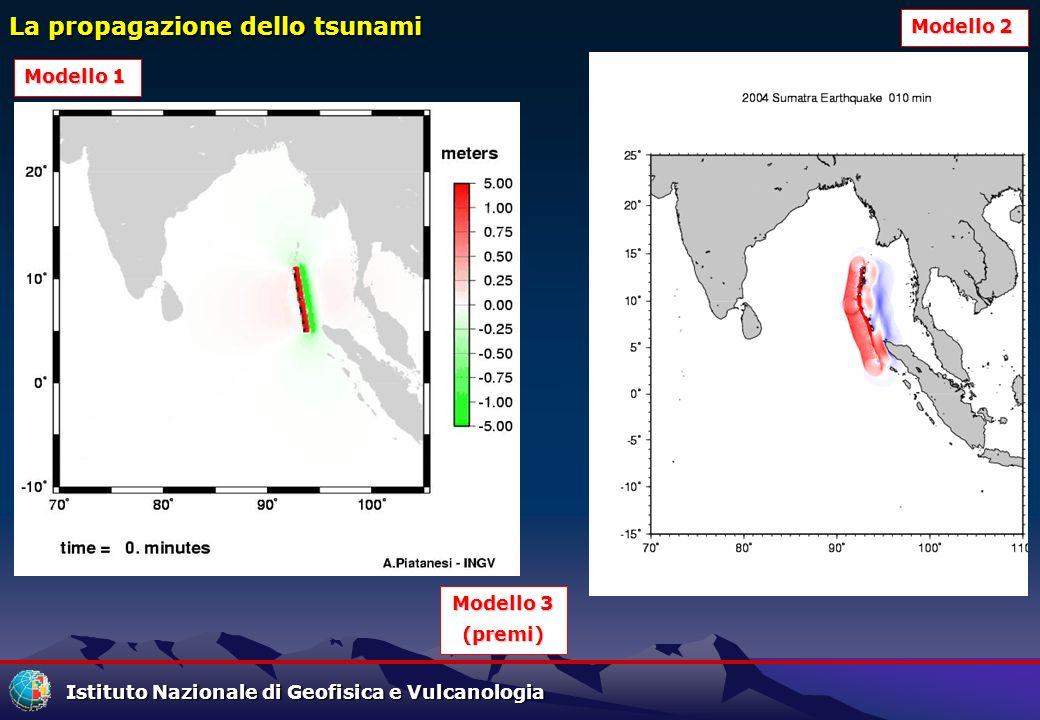 Istituto Nazionale di Geofisica e Vulcanologia La propagazione dello tsunami Modello 1 Modello 1 Modello 2 Modello 2 Modello 3 Modello 3 (premi)