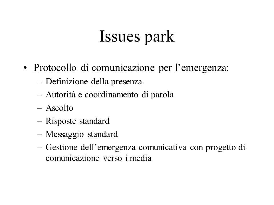 Issues park Protocollo di comunicazione per lemergenza: –Definizione della presenza –Autorità e coordinamento di parola –Ascolto –Risposte standard –Messaggio standard –Gestione dellemergenza comunicativa con progetto di comunicazione verso i media