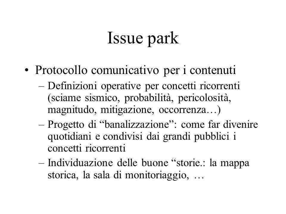 Issue park Protocollo comunicativo per i contenuti –Definizioni operative per concetti ricorrenti (sciame sismico, probabilità, pericolosità, magnitud
