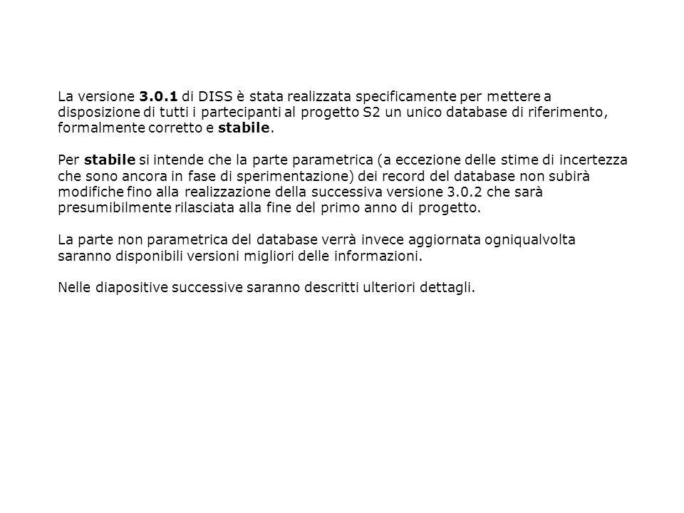 La versione 3.0.1 di DISS è stata realizzata specificamente per mettere a disposizione di tutti i partecipanti al progetto S2 un unico database di rif