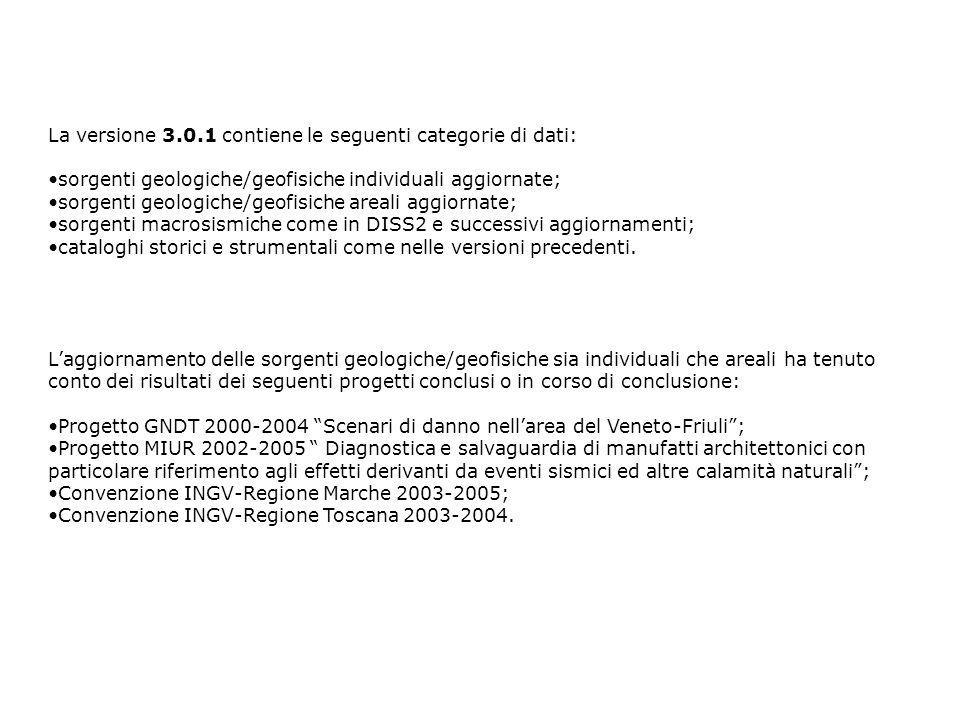 La versione 3.0.1 contiene le seguenti categorie di dati: sorgenti geologiche/geofisiche individuali aggiornate; sorgenti geologiche/geofisiche areali