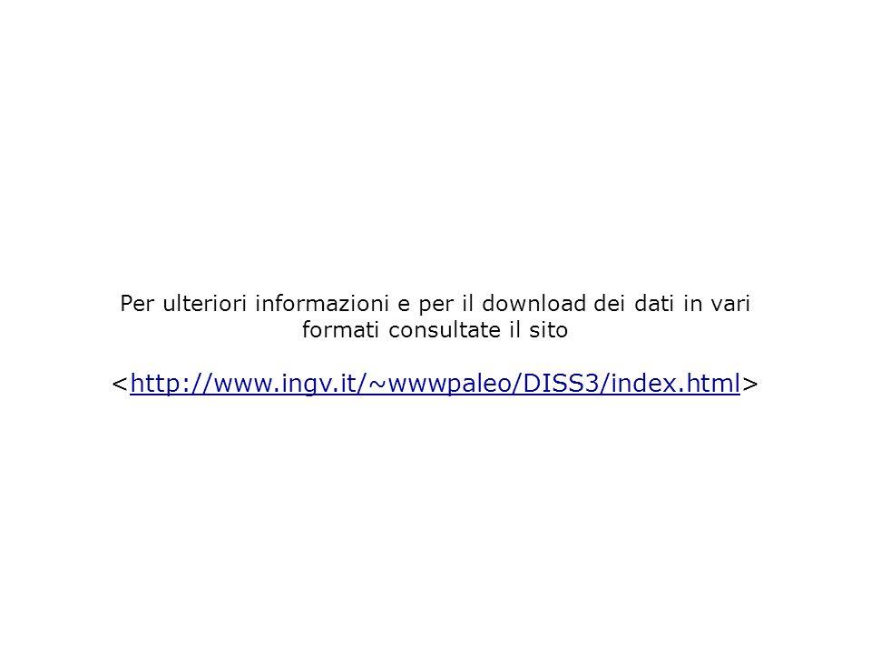 Per ulteriori informazioni e per il download dei dati in vari formati consultate il sito http://www.ingv.it/~wwwpaleo/DISS3/index.html