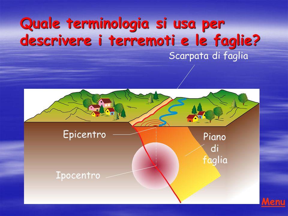 Scarpata di faglia Ipocentro Epicentro Piano di faglia Quale terminologia si usa per descrivere i terremoti e le faglie.