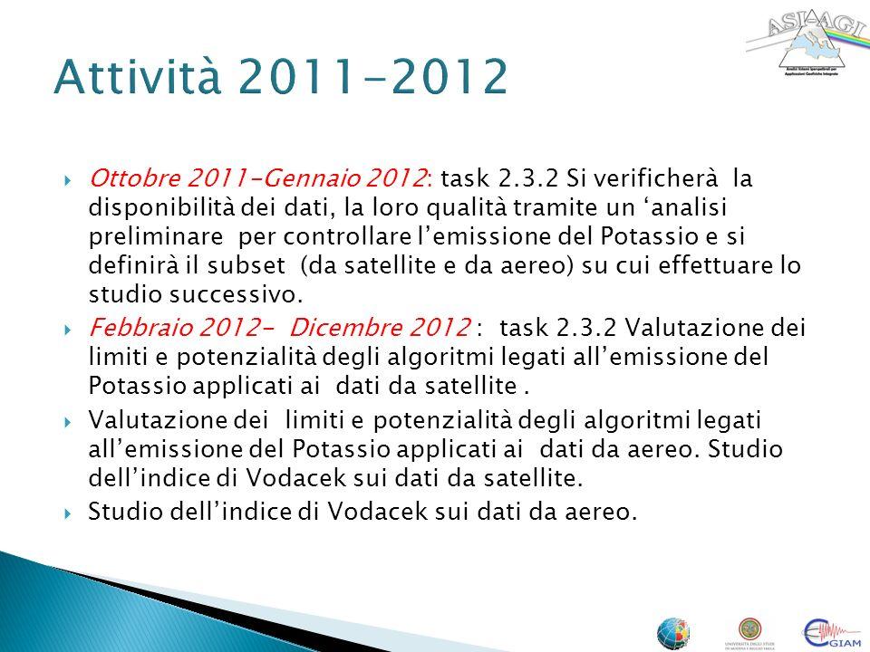 Ottobre 2011-Gennaio 2012: task 2.3.2 Si verificherà la disponibilità dei dati, la loro qualità tramite un analisi preliminare per controllare lemissione del Potassio e si definirà il subset (da satellite e da aereo) su cui effettuare lo studio successivo.