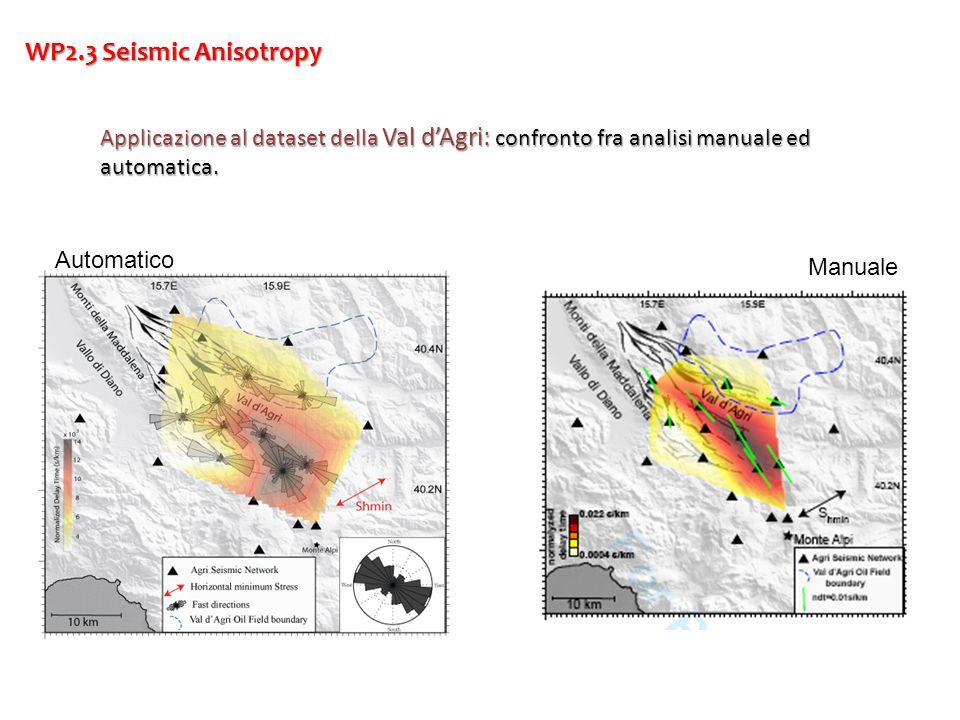 WP2.3 Seismic Anisotropy Applicazione al dataset della Val dAgri: confronto fra analisi manuale ed automatica. Automatico Manuale