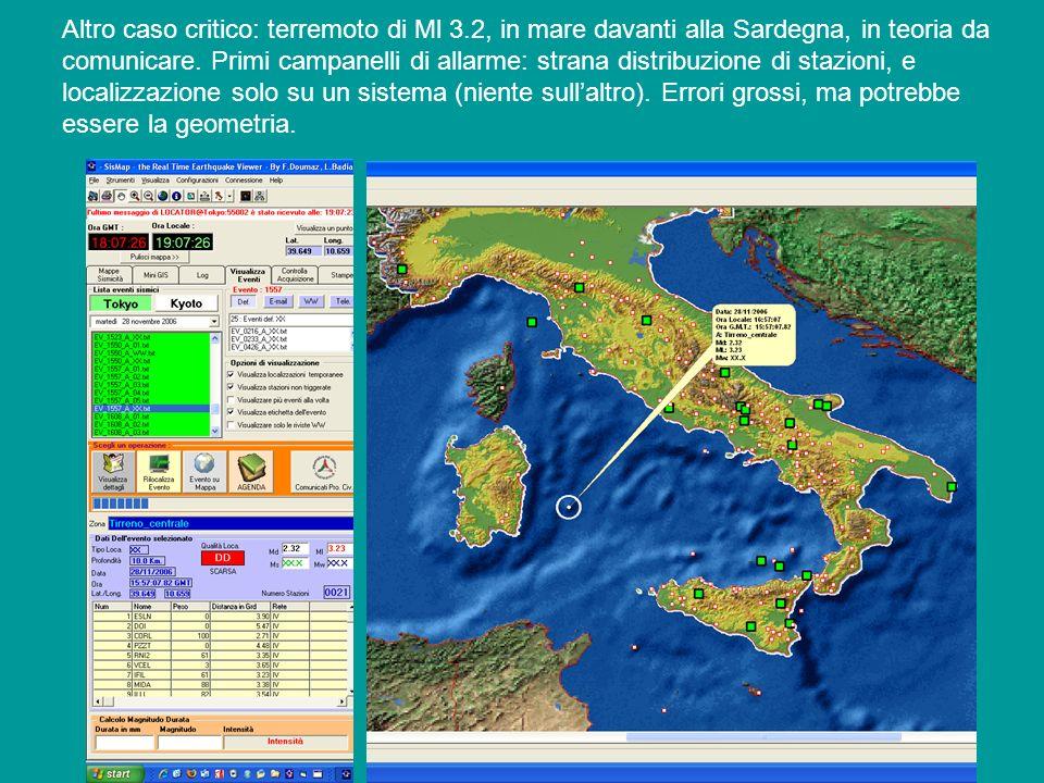 Altro caso critico: terremoto di Ml 3.2, in mare davanti alla Sardegna, in teoria da comunicare. Primi campanelli di allarme: strana distribuzione di