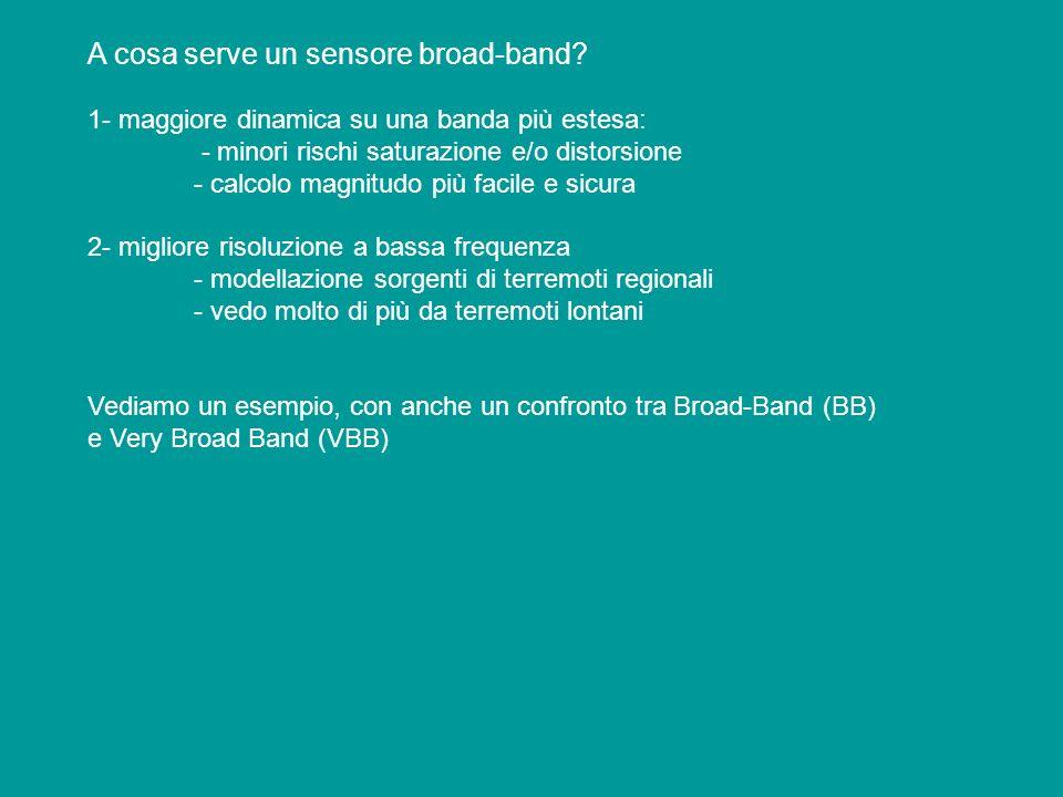 A cosa serve un sensore broad-band? 1- maggiore dinamica su una banda più estesa: - minori rischi saturazione e/o distorsione - calcolo magnitudo più