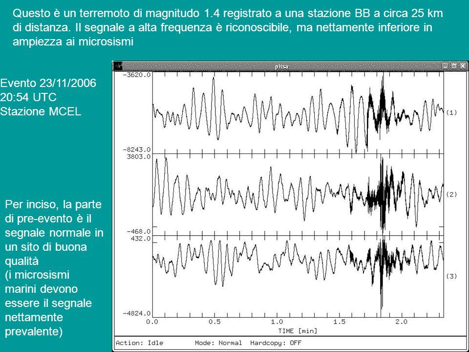 Questo è un terremoto di magnitudo 1.4 registrato a una stazione BB a circa 25 km di distanza. Il segnale a alta frequenza è riconoscibile, ma nettame