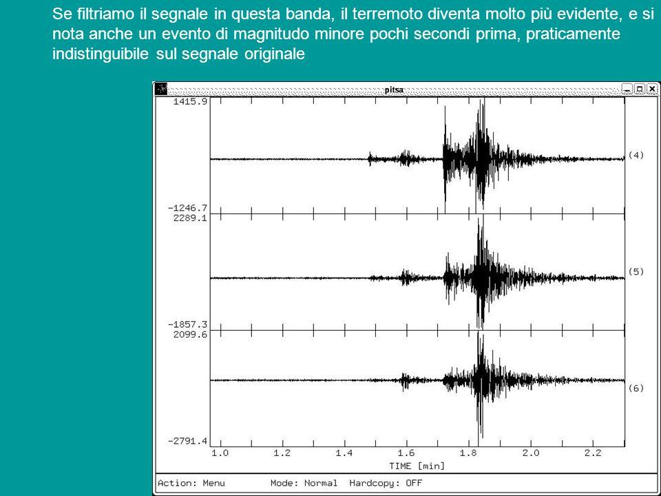 Se filtriamo il segnale in questa banda, il terremoto diventa molto più evidente, e si nota anche un evento di magnitudo minore pochi secondi prima, p