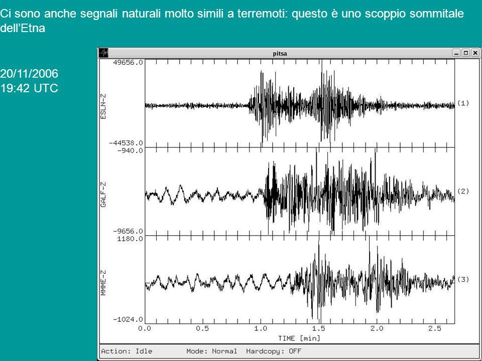 Confrontiamo lo scoppio con un terremoto tettonico avvenuto pochi minuti prima, alla stazione MMME (circa alla stessa distanza) Il contenuto in frequenza e la durata sono completamente diversi