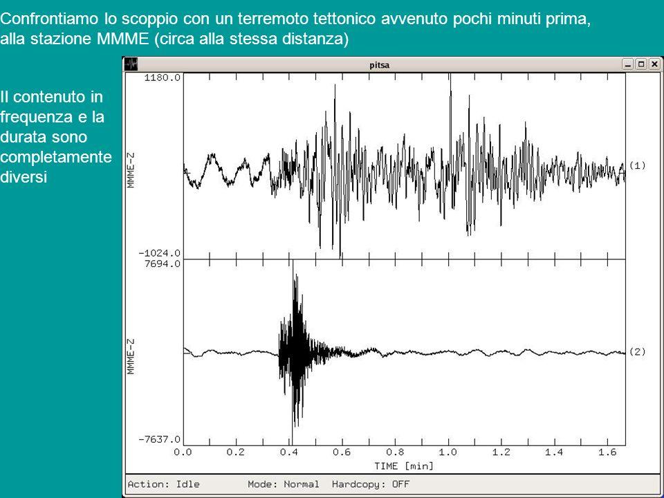 Confrontiamo lo scoppio con un terremoto tettonico avvenuto pochi minuti prima, alla stazione MMME (circa alla stessa distanza) Il contenuto in freque