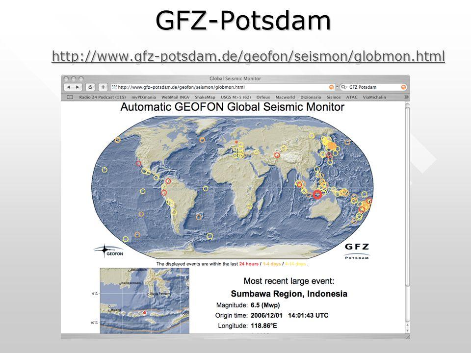 GFZ-Potsdam http://www.gfz-potsdam.de/geofon/seismon/globmon.html http://www.gfz-potsdam.de/geofon/seismon/globmon.html
