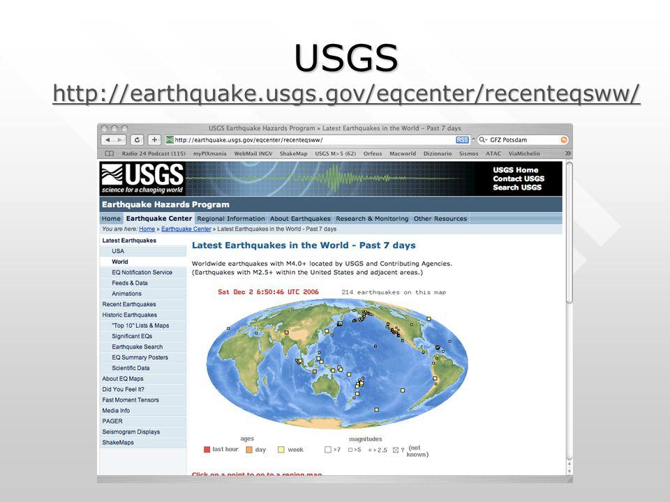 USGS http://earthquake.usgs.gov/eqcenter/recenteqsww/ http://earthquake.usgs.gov/eqcenter/recenteqsww/