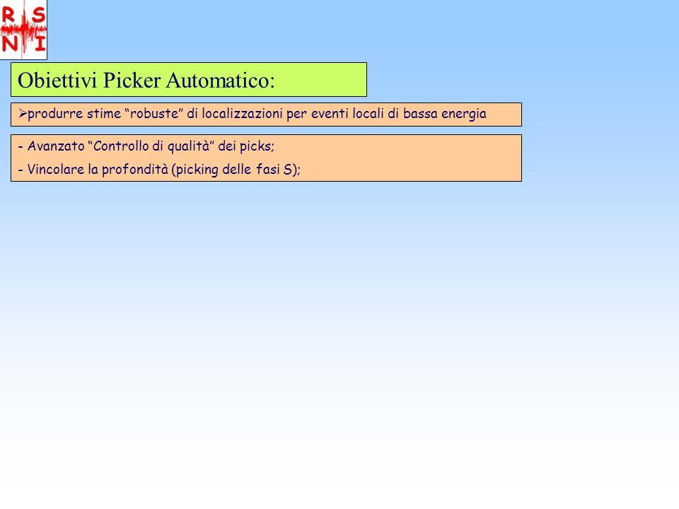 Obiettivi Picker Automatico: produrre stime robuste di localizzazioni per eventi locali di bassa energia - Avanzato Controllo di qualità dei picks; - Vincolare la profondità (picking delle fasi S);