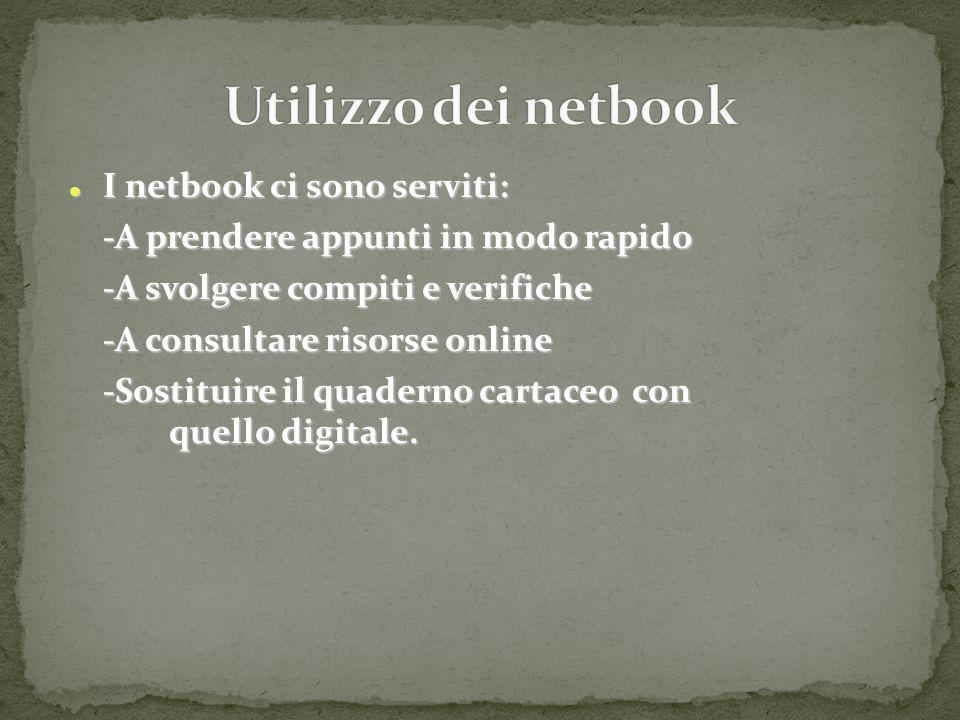 I netbook ci sono serviti: I netbook ci sono serviti: -A prendere appunti in modo rapido -A svolgere compiti e verifiche -A consultare risorse online -Sostituire il quaderno cartaceo con quello digitale.