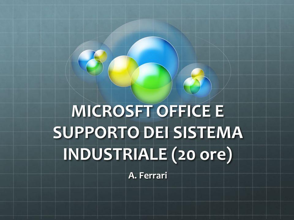 MICROSFT OFFICE E SUPPORTO DEI SISTEMA INDUSTRIALE (20 ore) A. Ferrari