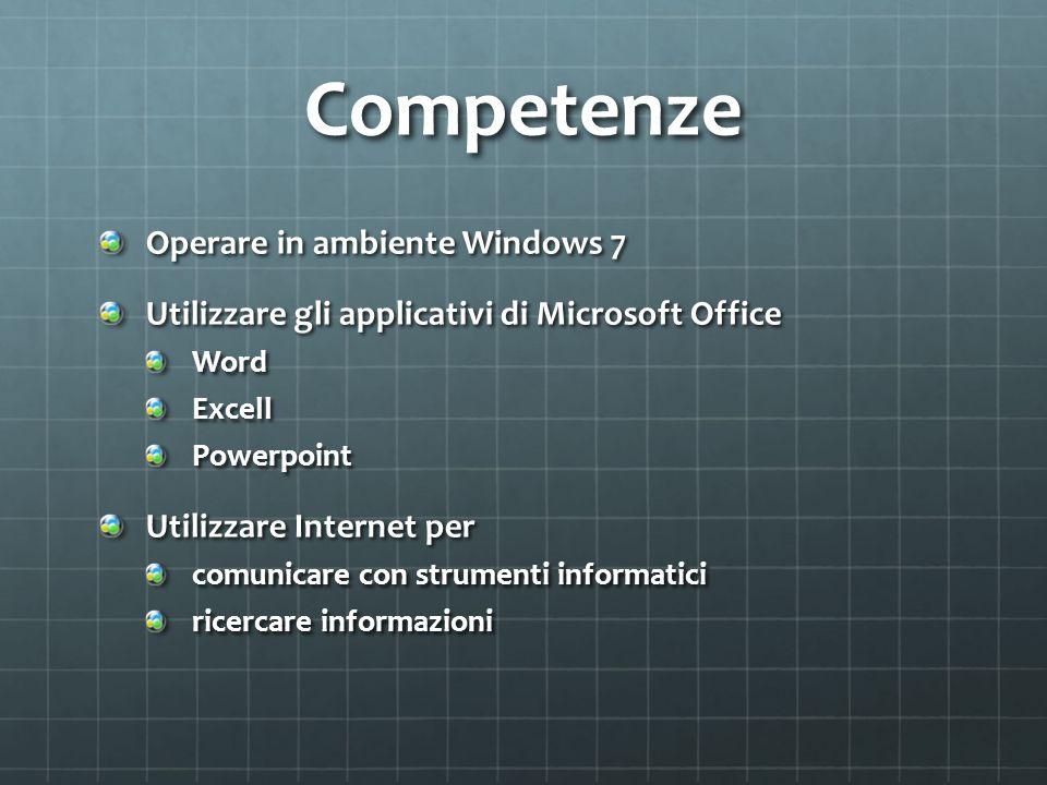 Competenze Operare in ambiente Windows 7 Utilizzare gli applicativi di Microsoft Office WordExcellPowerpoint Utilizzare Internet per comunicare con st