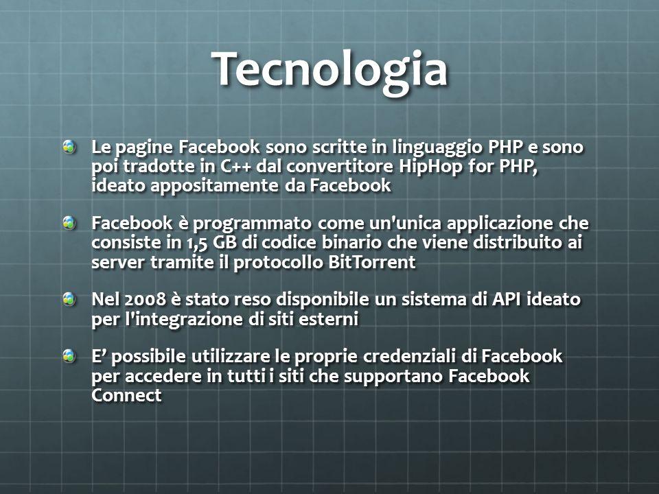 Tecnologia Le pagine Facebook sono scritte in linguaggio PHP e sono poi tradotte in C++ dal convertitore HipHop for PHP, ideato appositamente da Faceb