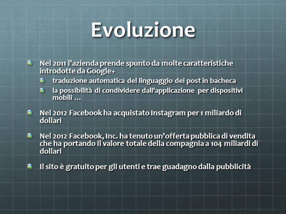 Evoluzione Nel 2011 l'azienda prende spunto da molte caratteristiche introdotte da Google+ traduzione automatica del linguaggio dei post in bacheca la