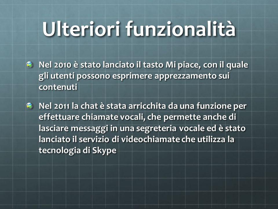 Ulteriori funzionalità Nel 2010 è stato lanciato il tasto Mi piace, con il quale gli utenti possono esprimere apprezzamento sui contenuti Nel 2011 la
