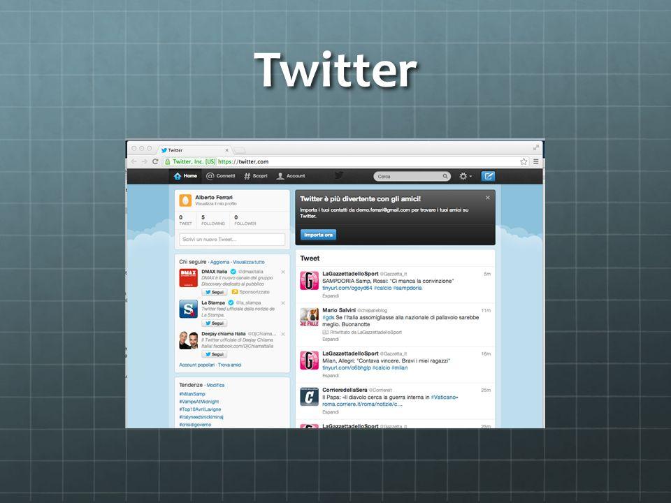 Applicazione Twitter è unapplicazione basata su software open source E un servizio gratuito del 2006 Fornisce agli utenti una pagina personale aggiornabile tramite messaggi di testo con una lunghezza massima di 140 caratteri