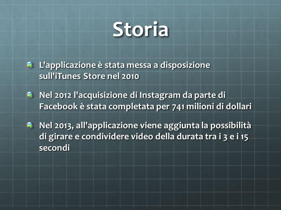 Storia L'applicazione è stata messa a disposizione sull'iTunes Store nel 2010 Nel 2012 l'acquisizione di Instagram da parte di Facebook è stata comp
