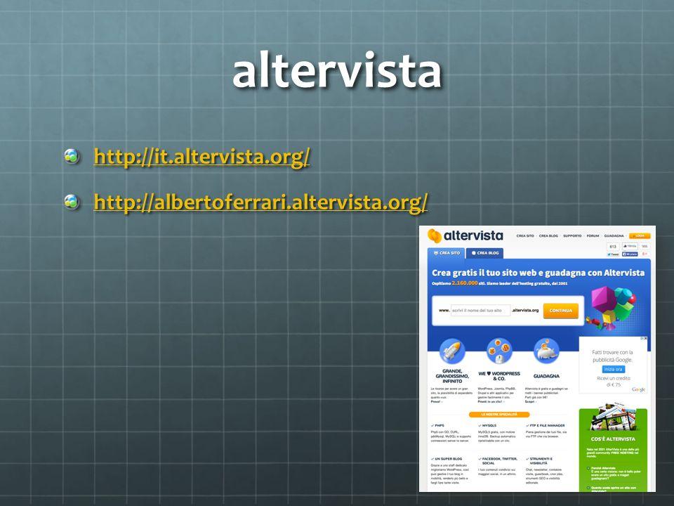 altervista http://it.altervista.org/ http://albertoferrari.altervista.org/