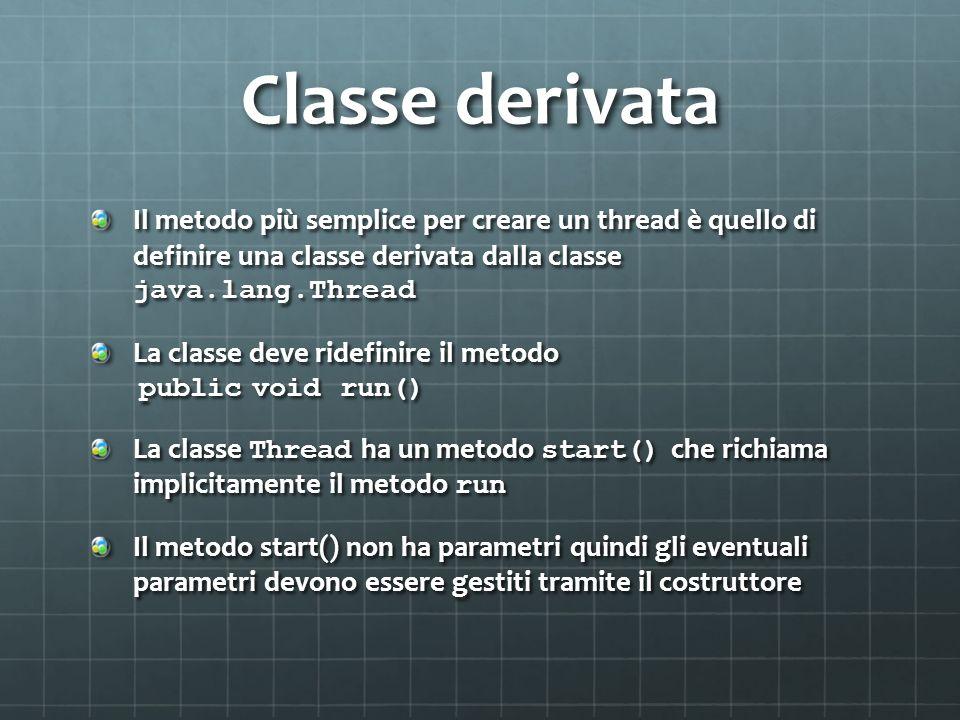 Classe derivata Il metodo più semplice per creare un thread è quello di definire una classe derivata dalla classe java.lang.Thread La classe deve ride