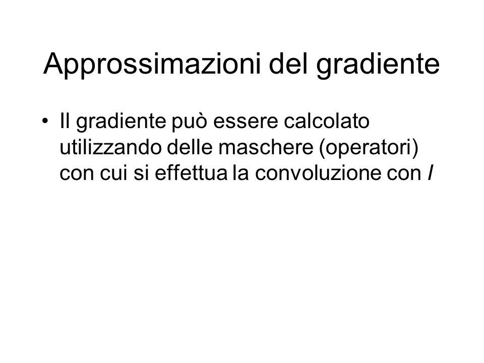 Approssimazioni del gradiente Il gradiente può essere calcolato utilizzando delle maschere (operatori) con cui si effettua la convoluzione con I