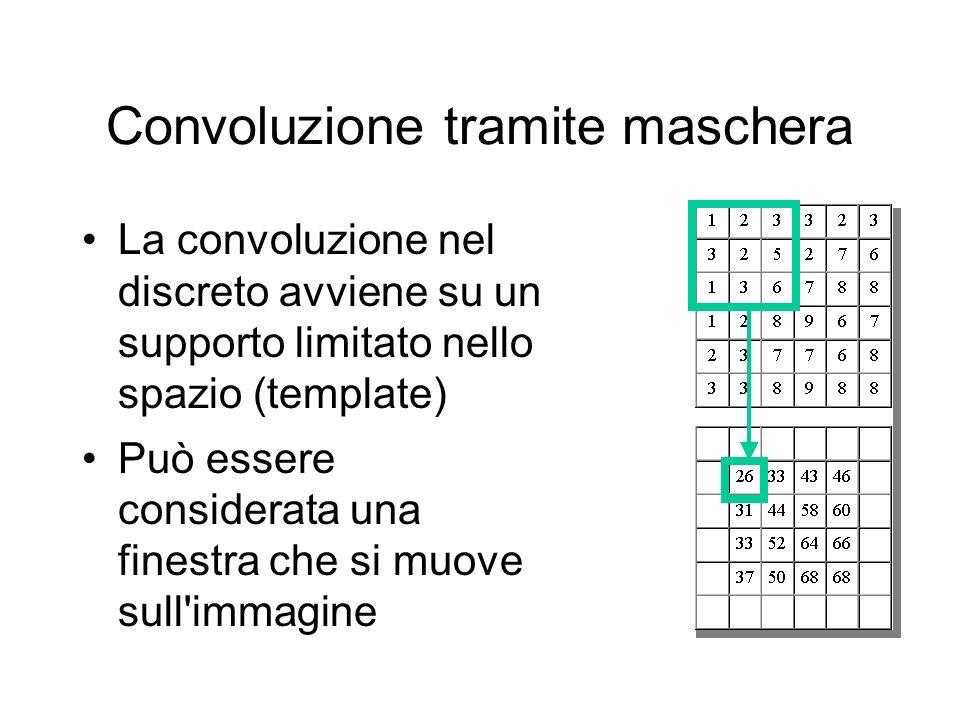 Convoluzione tramite maschera La convoluzione nel discreto avviene su un supporto limitato nello spazio (template) Può essere considerata una finestra che si muove sull immagine