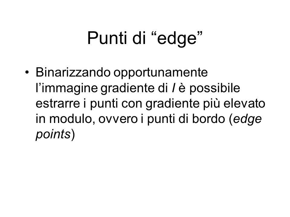 Punti di edge Binarizzando opportunamente limmagine gradiente di I è possibile estrarre i punti con gradiente più elevato in modulo, ovvero i punti di bordo (edge points)