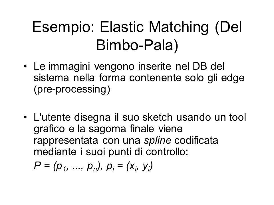 Esempio: Elastic Matching (Del Bimbo-Pala) Le immagini vengono inserite nel DB del sistema nella forma contenente solo gli edge (pre-processing) L utente disegna il suo sketch usando un tool grafico e la sagoma finale viene rappresentata con una spline codificata mediante i suoi punti di controllo: P = (p 1,..., p n ), p i = (x i, y i )