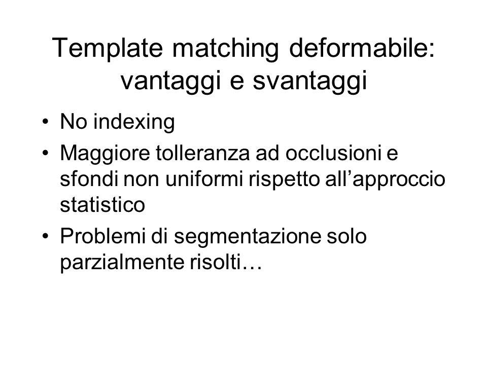 Template matching deformabile: vantaggi e svantaggi No indexing Maggiore tolleranza ad occlusioni e sfondi non uniformi rispetto allapproccio statistico Problemi di segmentazione solo parzialmente risolti…