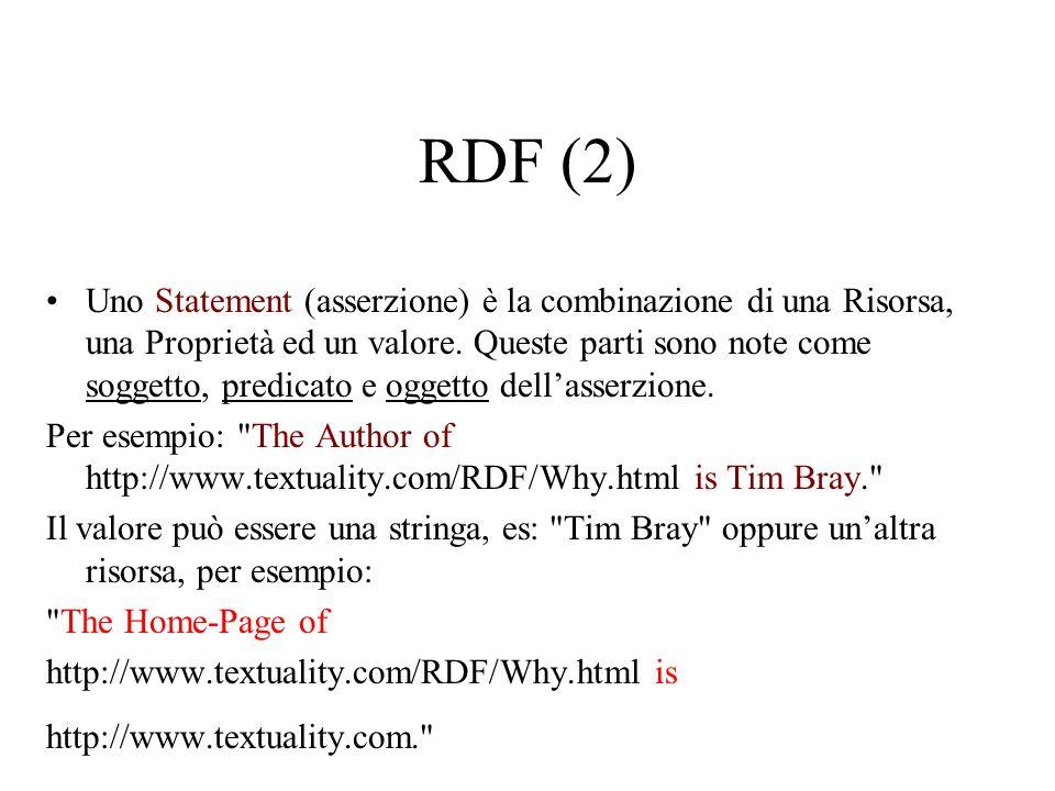 RDF (3) Queste proprietà astratte possono essere espresse usando ancora XML, Es: