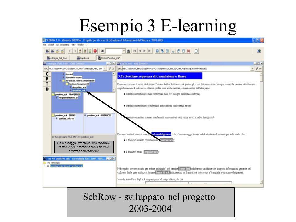 E-learning E un servizio quindi in realtà rientra nel caso dellesempio precedente Navigazione semantica dei corsi Classificazione materiale didattico Reperimento di materiale didattico (ricerca per concetti)