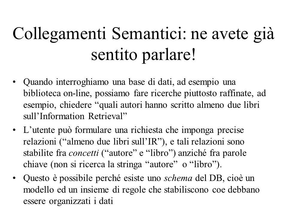 Schemi e collegamenti in un DB: esempio BOOK ISBNauthorstitle namebirthdate Schema 1 AUTHOR name books title ISBN Schema birthdate