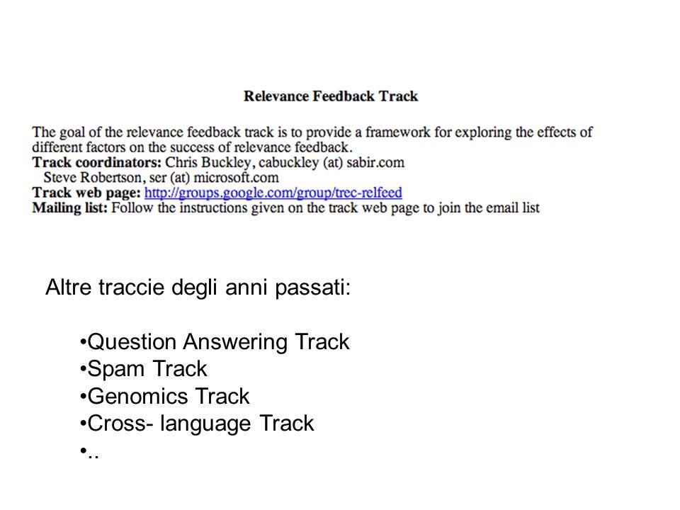 Altre traccie degli anni passati: Question Answering Track Spam Track Genomics Track Cross- language Track..