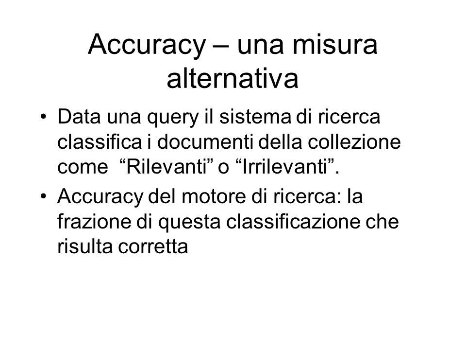 Accuracy – una misura alternativa Data una query il sistema di ricerca classifica i documenti della collezione come Rilevanti o Irrilevanti. Accuracy