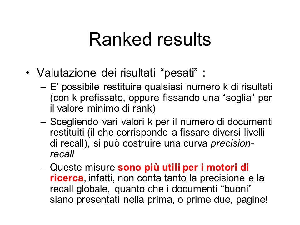 Ranked results Valutazione dei risultati pesati : –E possibile restituire qualsiasi numero k di risultati (con k prefissato, oppure fissando una sogli