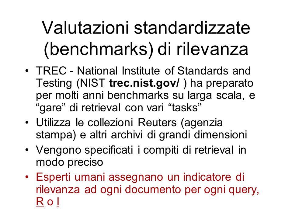 Valutazioni standardizzate (benchmarks) di rilevanza TREC - National Institute of Standards and Testing (NIST trec.nist.gov/ ) ha preparato per molti anni benchmarks su larga scala, e gare di retrieval con vari tasks Utilizza le collezioni Reuters (agenzia stampa) e altri archivi di grandi dimensioni Vengono specificati i compiti di retrieval in modo preciso Esperti umani assegnano un indicatore di rilevanza ad ogni documento per ogni query, R o I