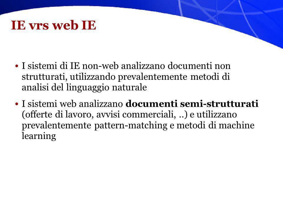 IE vrs web IE I sistemi di IE non-web analizzano documenti non strutturati, utilizzando prevalentemente metodi di analisi del linguaggio naturale I si
