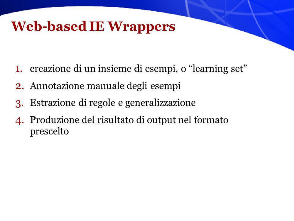 Web-based IE Wrappers 1. creazione di un insieme di esempi, o learning set 2. Annotazione manuale degli esempi 3. Estrazione di regole e generalizzazi