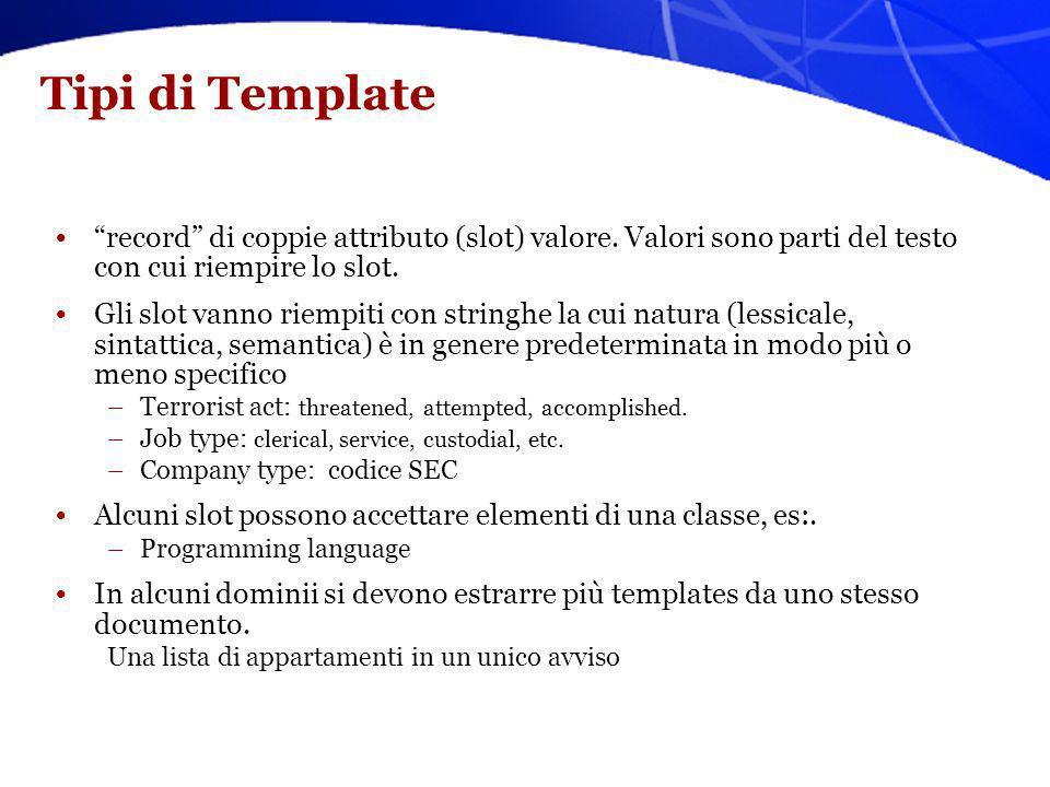 Tipi di Template record di coppie attributo (slot) valore. Valori sono parti del testo con cui riempire lo slot. Gli slot vanno riempiti con stringhe