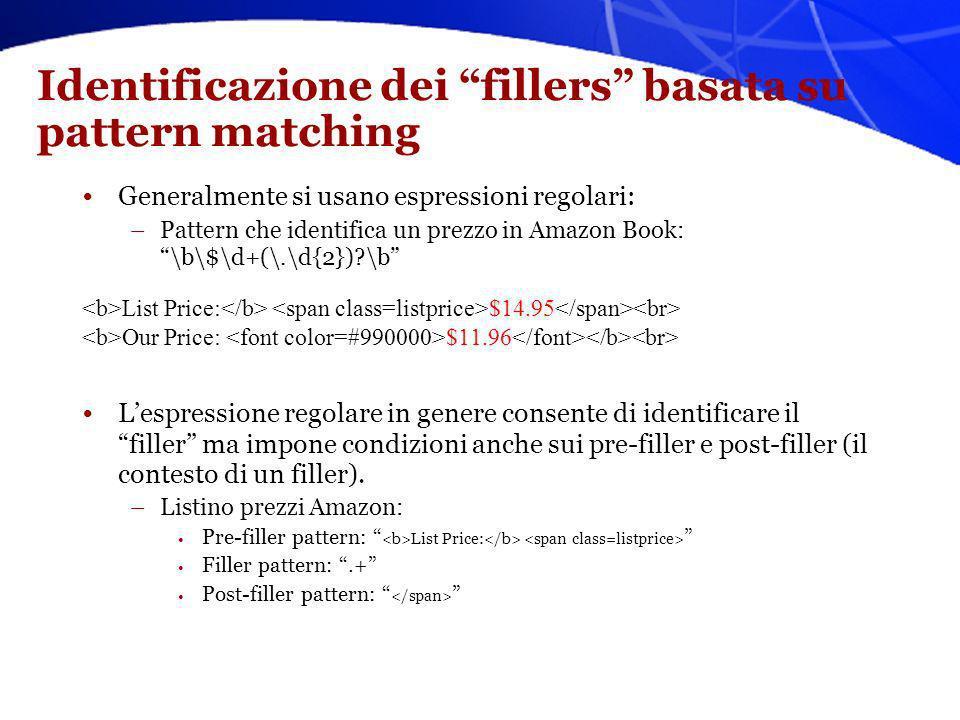 Identificazione dei fillers basata su pattern matching Generalmente si usano espressioni regolari: –Pattern che identifica un prezzo in Amazon Book: \