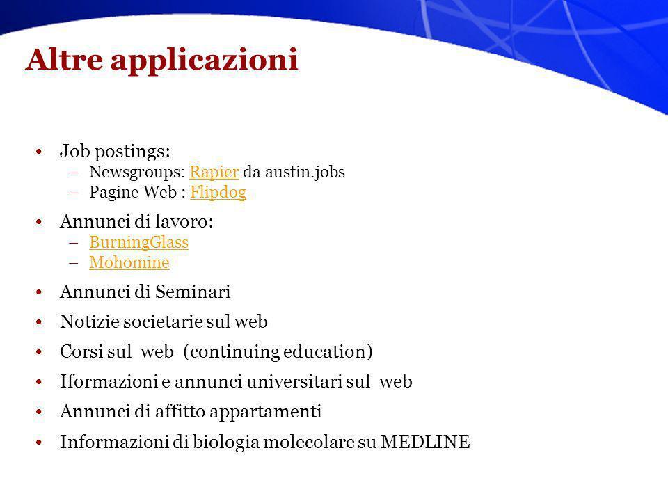 Altre applicazioni Job postings: –Newsgroups: Rapier da austin.jobsRapier –Pagine Web : FlipdogFlipdog Annunci di lavoro: –BurningGlassBurningGlass –M