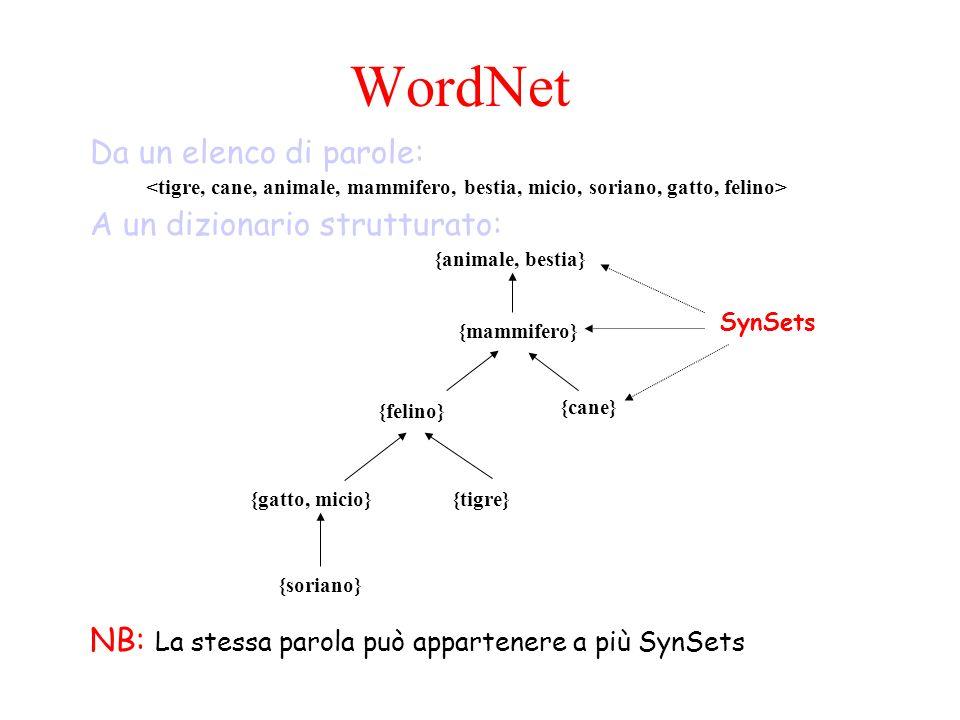 {animale, bestia}{gatto, micio} {cane} {felino} {mammifero} {soriano} {tigre} WordNet Da un elenco di parole: A un dizionario strutturato: SynSets NB: