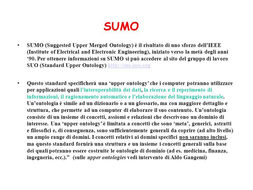 SUMO (Suggested Upper Merged Ontology) è il risultato di uno sforzo dellIEEE (Institute of Electrical and Electronic Engineering), iniziato verso la m