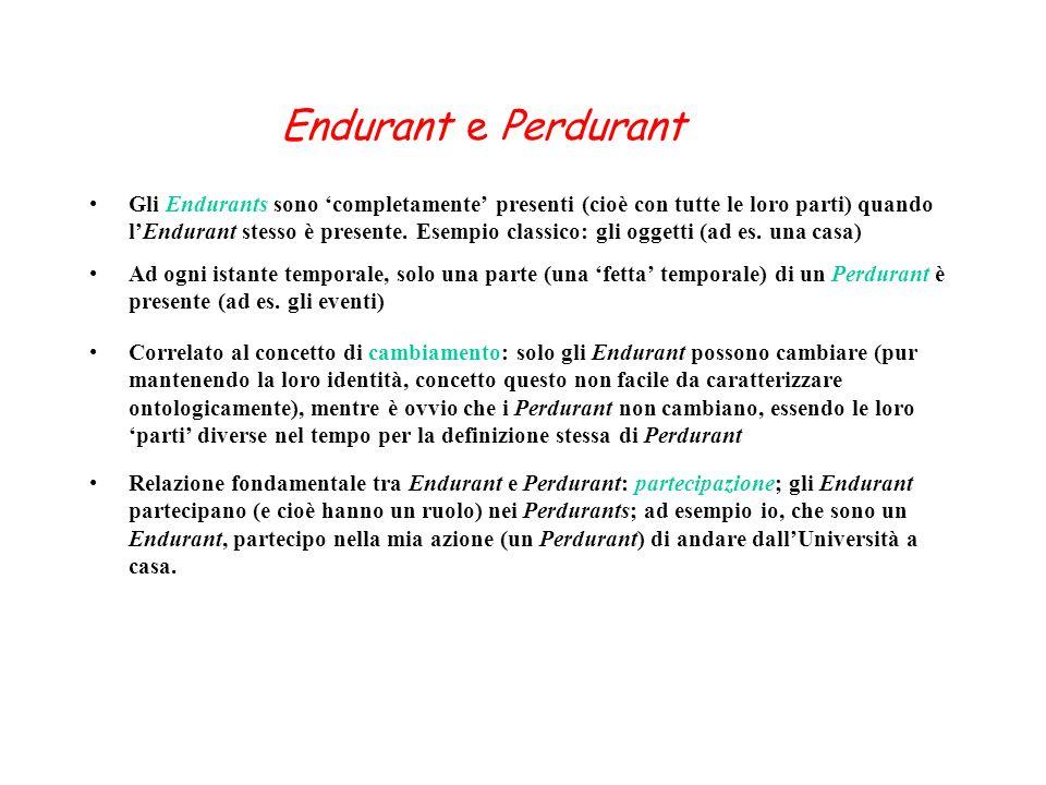 Endurant e Perdurant Gli Endurants sono completamente presenti (cioè con tutte le loro parti) quando lEndurant stesso è presente. Esempio classico: gl