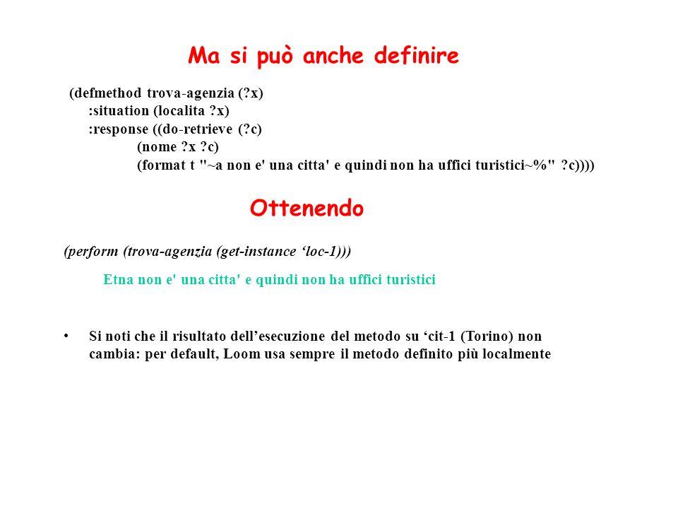 (defmethod trova-agenzia (?x) :situation (localita ?x) :response ((do-retrieve (?c) (nome ?x ?c) (format t